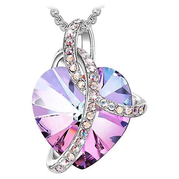 Amore-Cuore-ciondolo-cuore-con-colorato-cristalli-di-Swarovski-gioielli-donna-collana-donna-collana-cuore