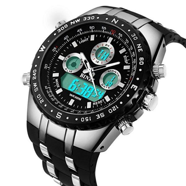 BINZI-orologio-da-uomo-impermeabile-sportivo-digitale-con-doppio-display-luce-LED-e-cinturino-di-silicone-nero