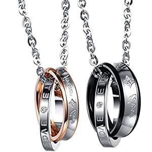 Flongo-coppia-collana-amante-regalo-per-donna-uomo-anelli-interblocco-mosaico-strass-pendenti-scrivono-Forever-Love-2-colori-un-set-in-acciaio-inossidabile