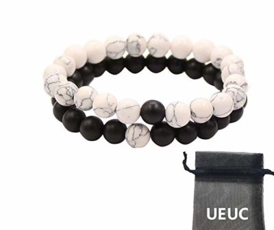 Bracciali-Distanza-coppia-per-gli-amanti-2pcs-alone-nero-agata-&-White-Howlite-Beads-8mm-By-UEUC