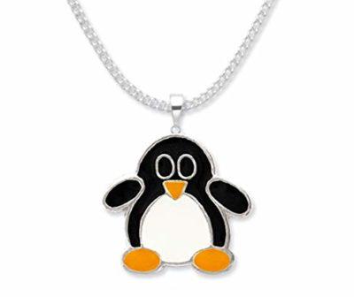 Collana-per-bambini-in-argento-Sterling-pinguino-su-catenina-di-36-cm-in-argento-Smalto-su-argento-Dimensioni-14-mm-x-15-mm-In-confezione-regalo