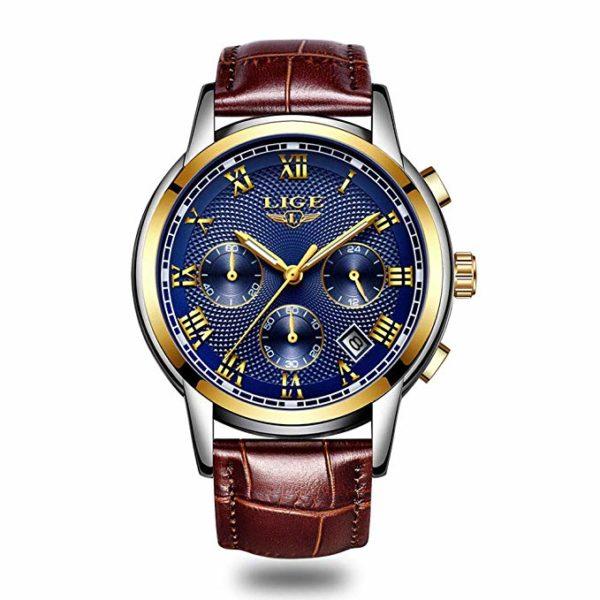 LIGE-Orologio-Uomo-Orologio-da-Polso-al-Quarzo-Cinturino-in-Pelle-Marrone-Impermeabile-Luminoso-Cronografo-Rotondo-Orologi-per-Uomo-Blu-Oro