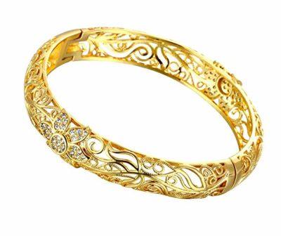 Bracciale-rigido-in-filigrana-placcato-in-oro-giallo-18-carati-motivo-fiorellini